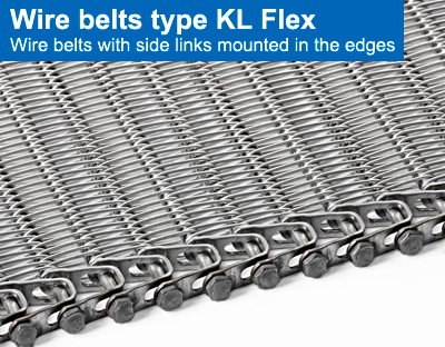 Wire belts type KL Flex. Wire belts with side links mounted in the edges