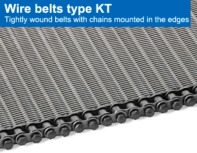 Wire belts type KT. Tightly wound belts with chains mounted in the edges