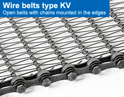 Wire belts type KV. Open belts with chains mounted in the edges