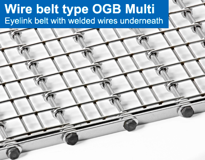 Wire belt type OGB Multi. Eyelink belt with welded wires underneath