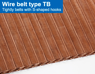 Wire belt type TB. Tightly belts with S-shaped hooks.